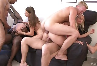 Severe anal orgy with four wild bi sexual sluts